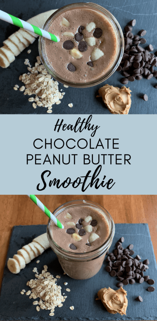 Healthy Chocolate Peanut Butter Banana Oat Smoothie