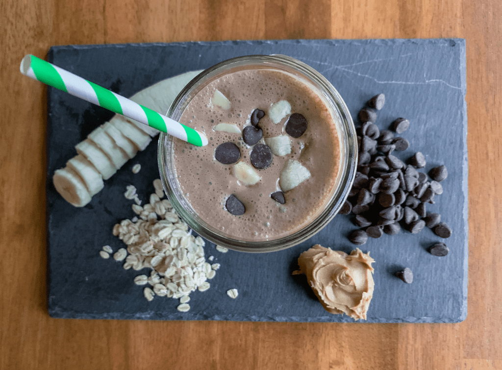 Healthy Peanut Butter Chocolate Banana Oat Smoothie