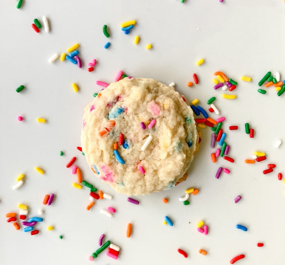 Soft and chewy birthday cake cookies