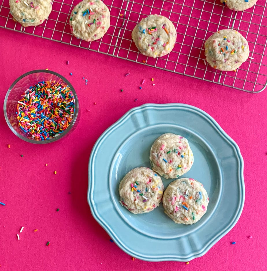 Delicious Funfetti Cookies On Blue Plate