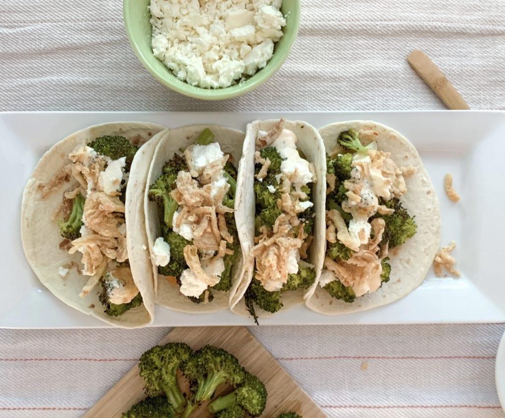 Roasted Broccoli Tacos Platter