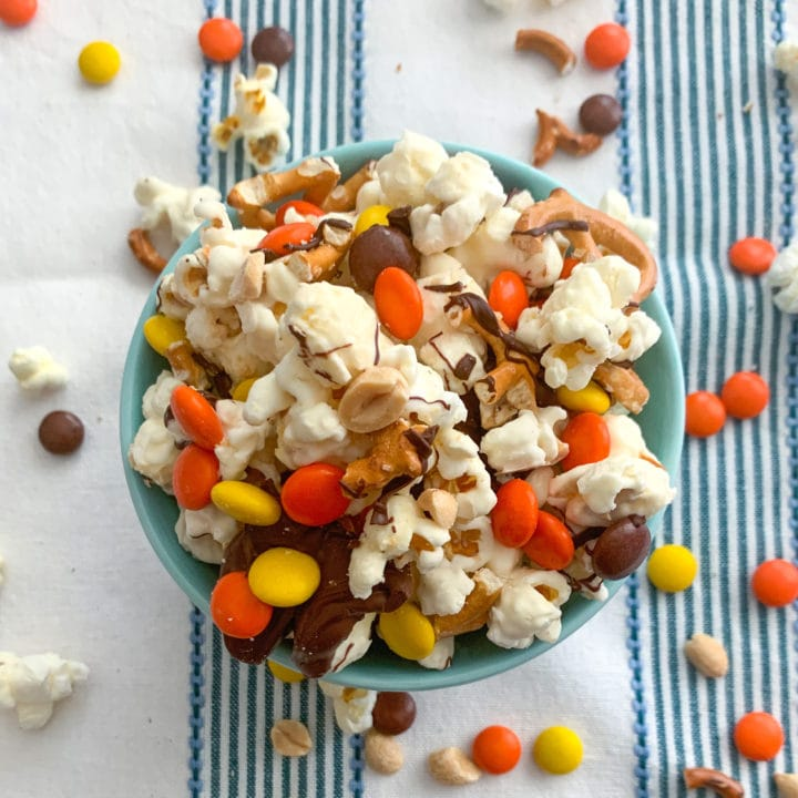 Chocolate Covered Peanut Pretzel Popcorn Snack Mix