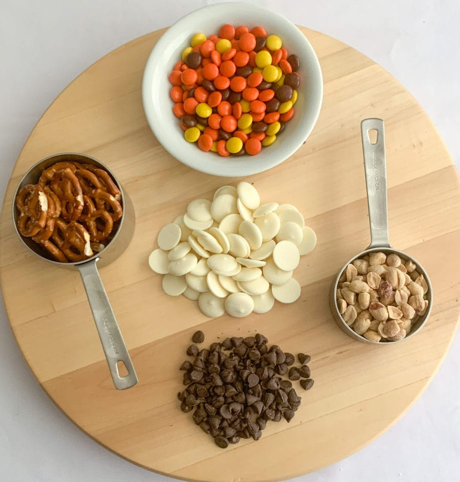 The toppings for chocolate covered popcorn