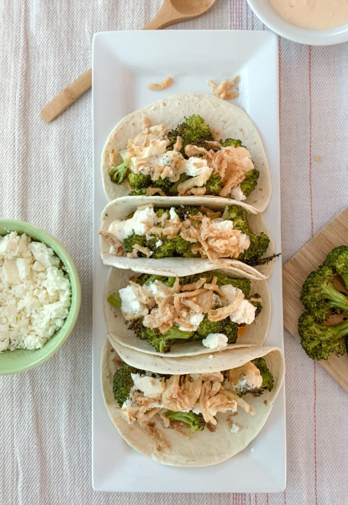 Sweet and Spicy Roasted broccoli taco platter