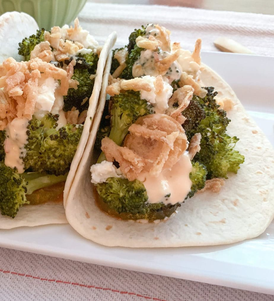 Roasted Broccoli Tacos Close Up