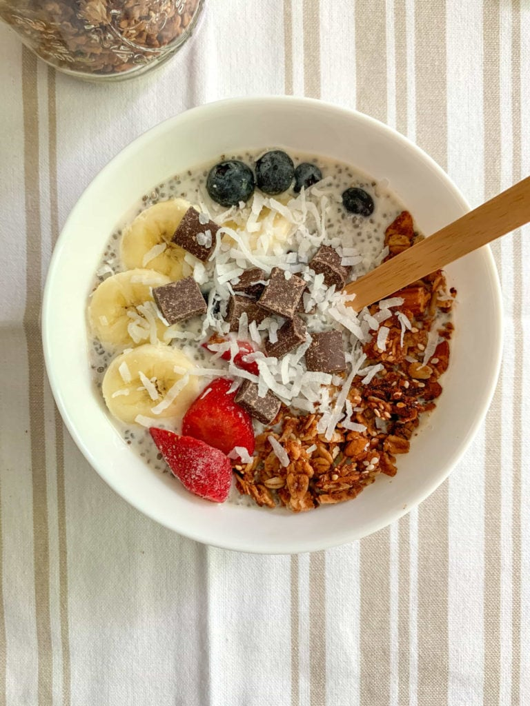 A bowl of chia seed pudding and granola