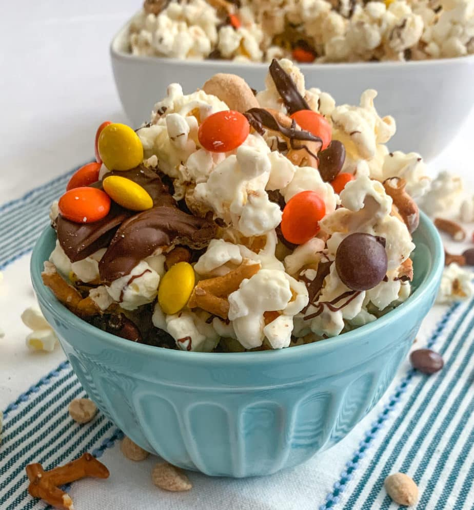 Chocolate and Candy Coated Popcorn With Salty Peanuts and Pretzels