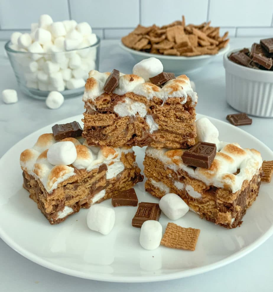 A tower of Golden Grahams S'mores Bars