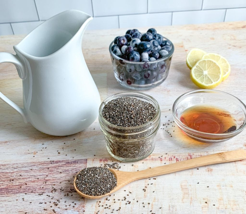 The ingredients you'll need to make Blueberry Lemon Chia Pudding