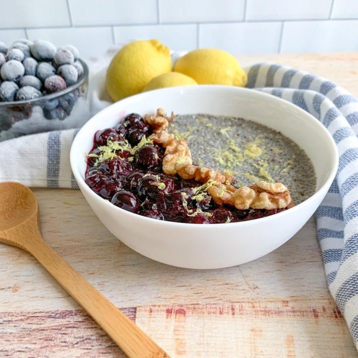 Blueberry Lemon Chia Seed Pudding For Breakfast