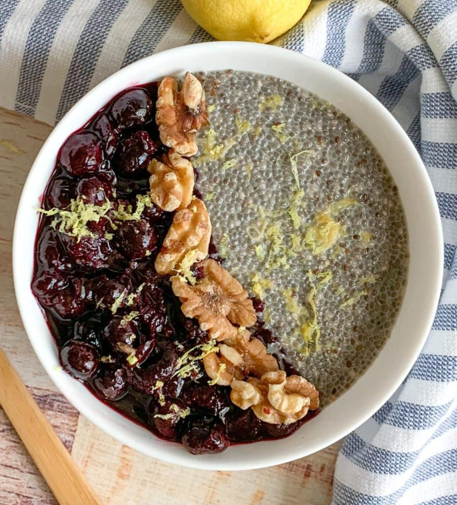 A bowl of Blueberry Lemon Chia Pudding makes a great healthy, nutritious breakfast