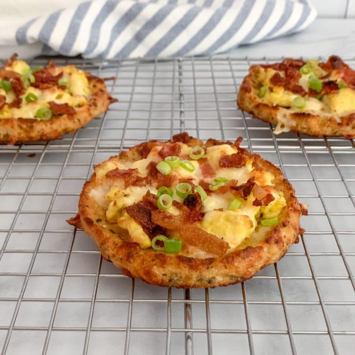Mini Homemade Cauliflower Crust Breakfast Pizzas