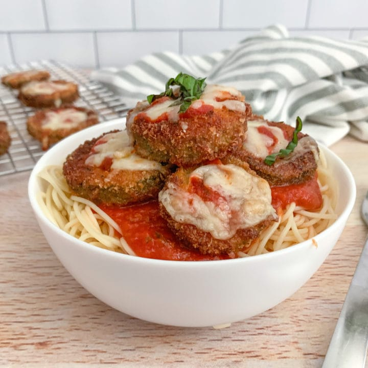 A bowl of Crispy Fried Zucchini Parmesan