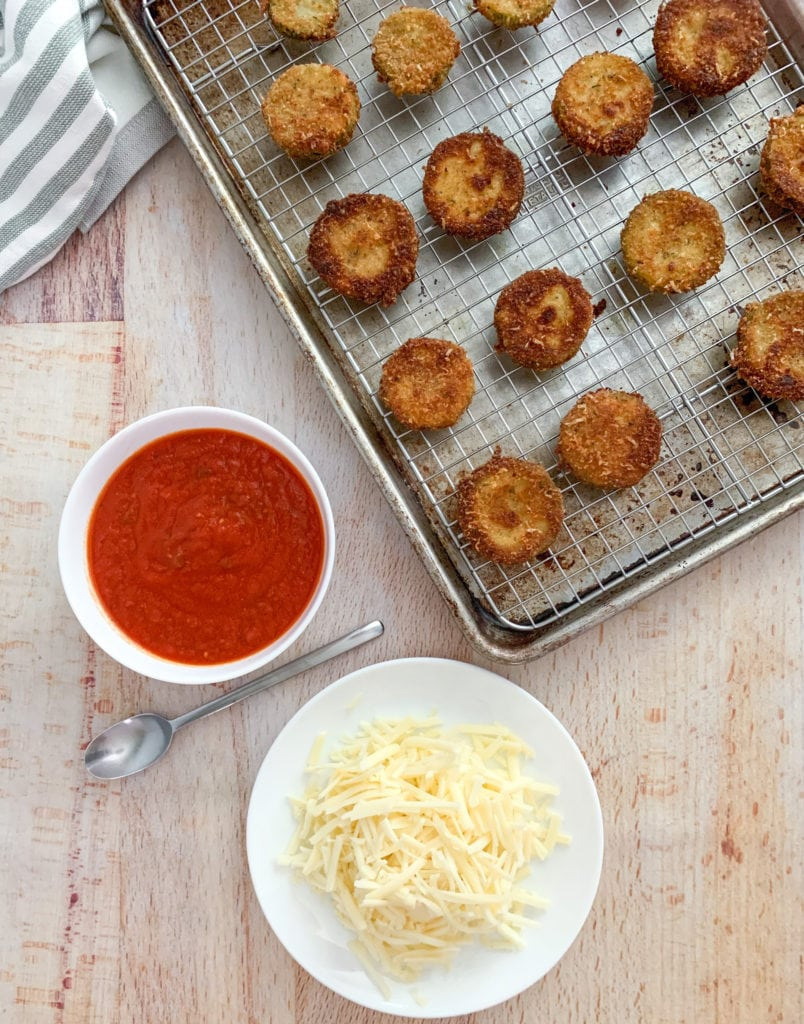 Marinara Sauce and Cheese To Top The Fried Zucchini
