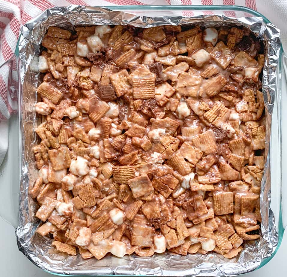 No Bake Golden Grahams S'mores Bars in the pan