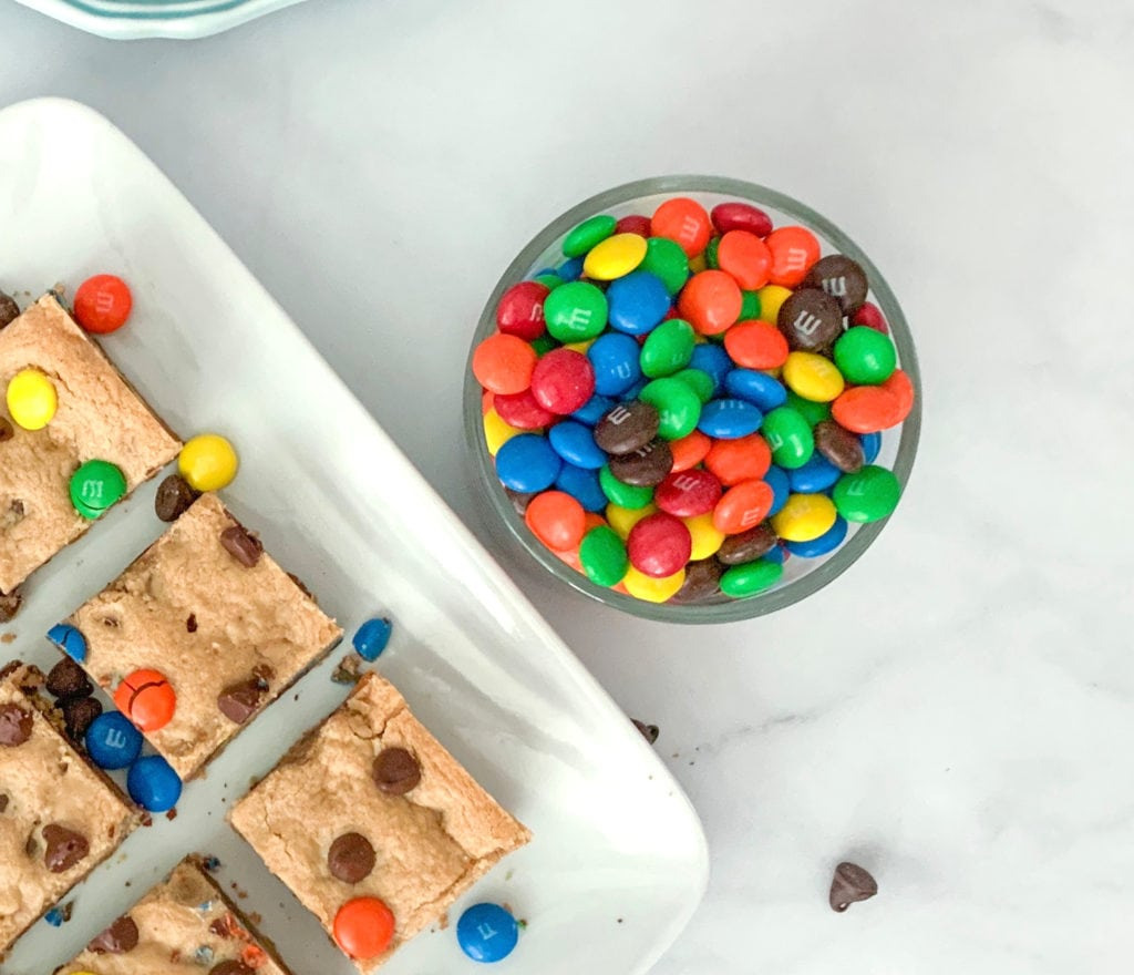 M&Ms for the M&M Peanut Butter Cookie Bars