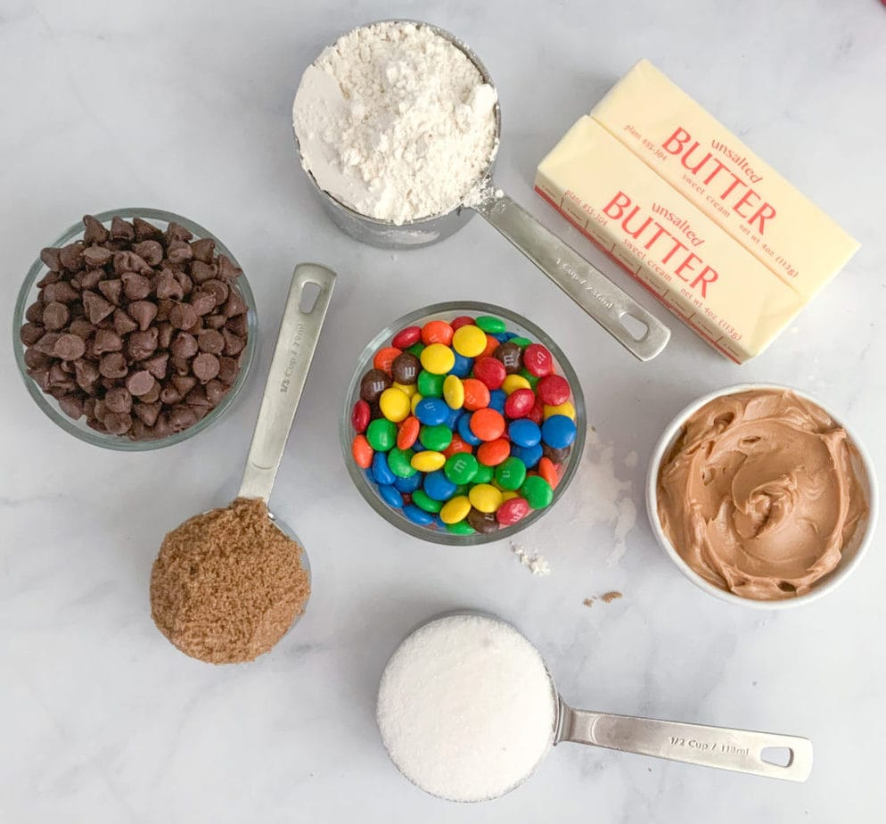 The ingredients you'll need to make M&M Peanut Butter Cookie Bars