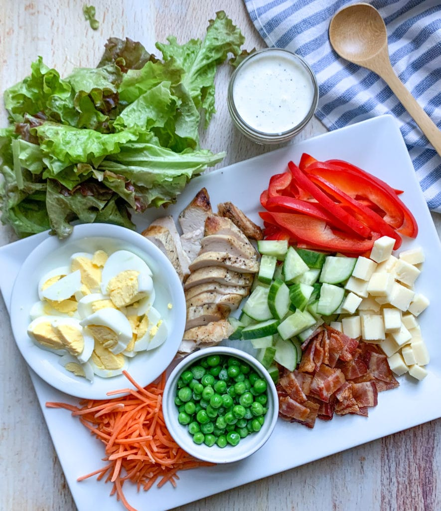 Ingredients for a summer cobb salad with chicken