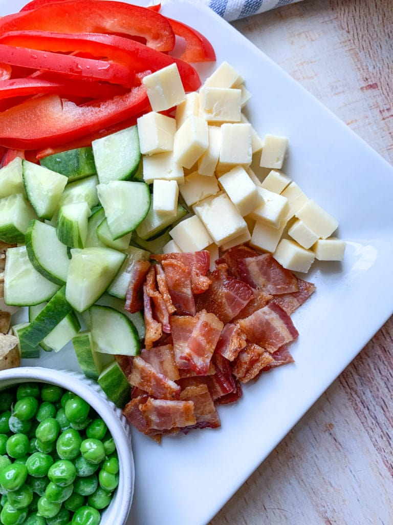 Bacon and cheese for the cobb salad