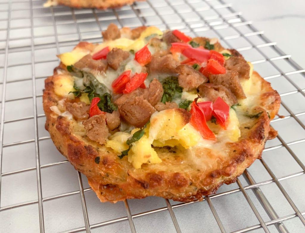 Sausage, Kale and Pepper Cauliflower Crust Breakfast Pizza