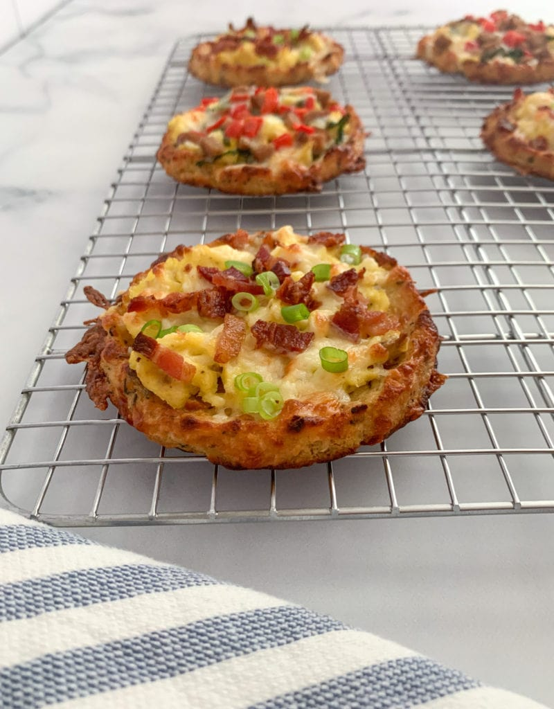 Bacon Egg and Cheese Cauliflower Crust Breakfast Pizzas