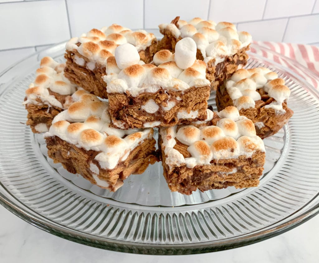 A Platter Of Delicious S'mores Bars made with Golden Grahams Cereal