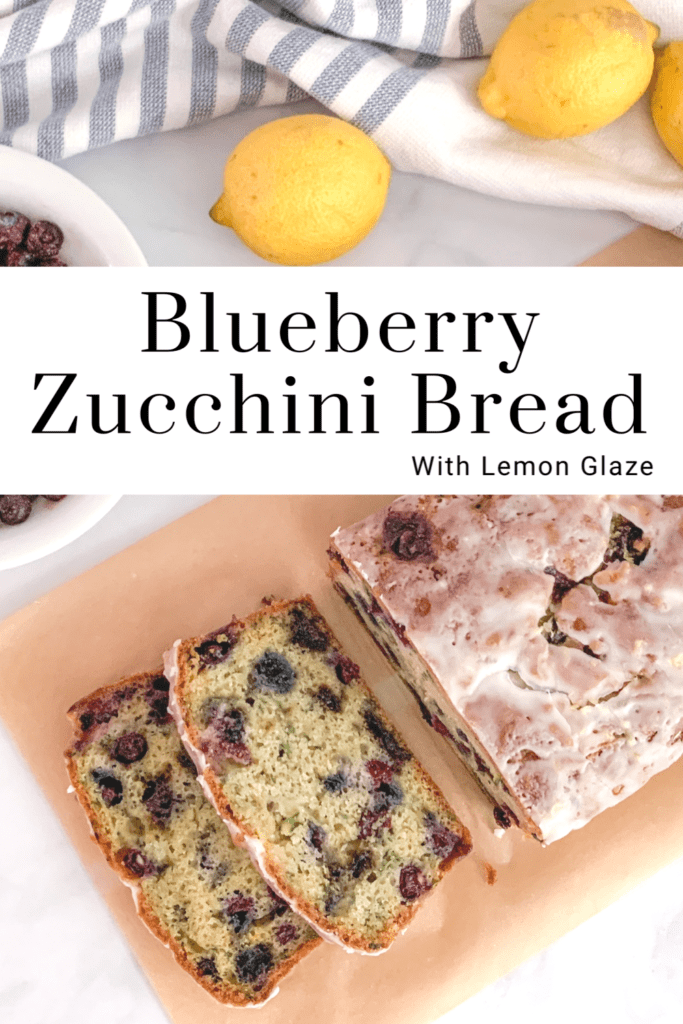 Pin the recipe Blueberry Zucchini Bread with Lemon Glaze