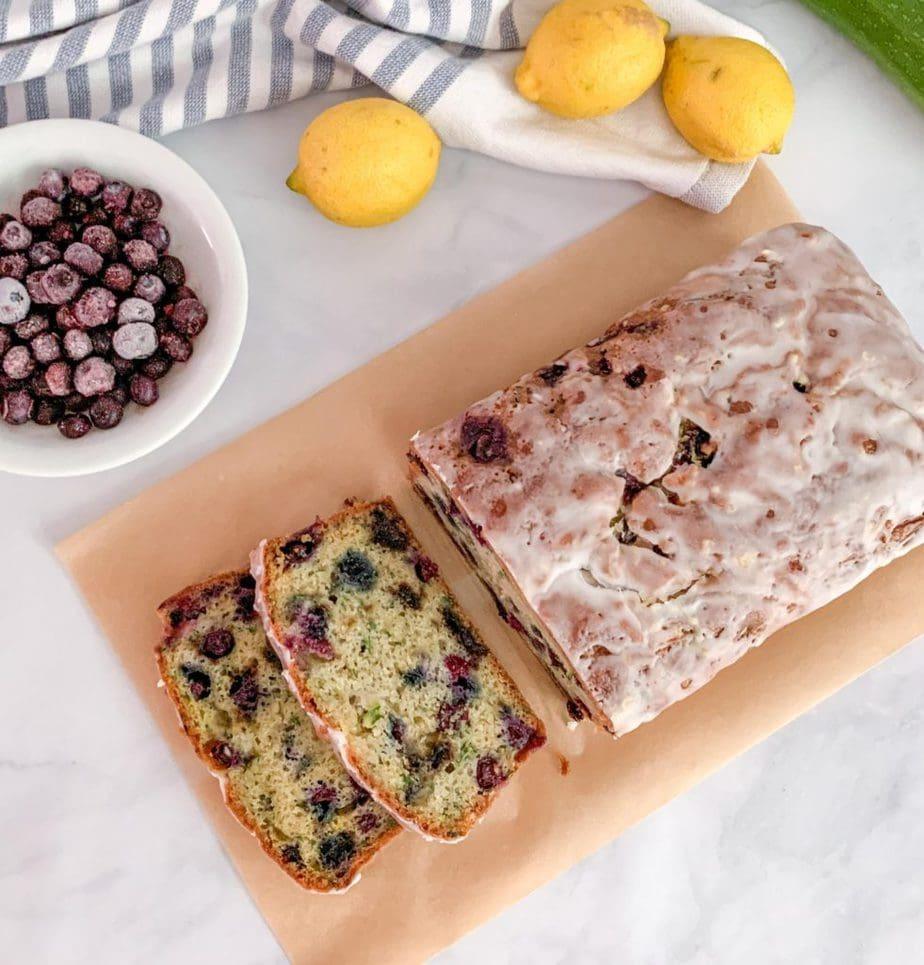 Glazed Lemon Blueberry Zucchini Bread
