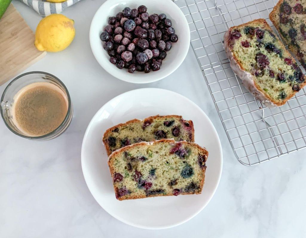 Lemon Glazed Blueberry Zucchini Bread For Breakfast