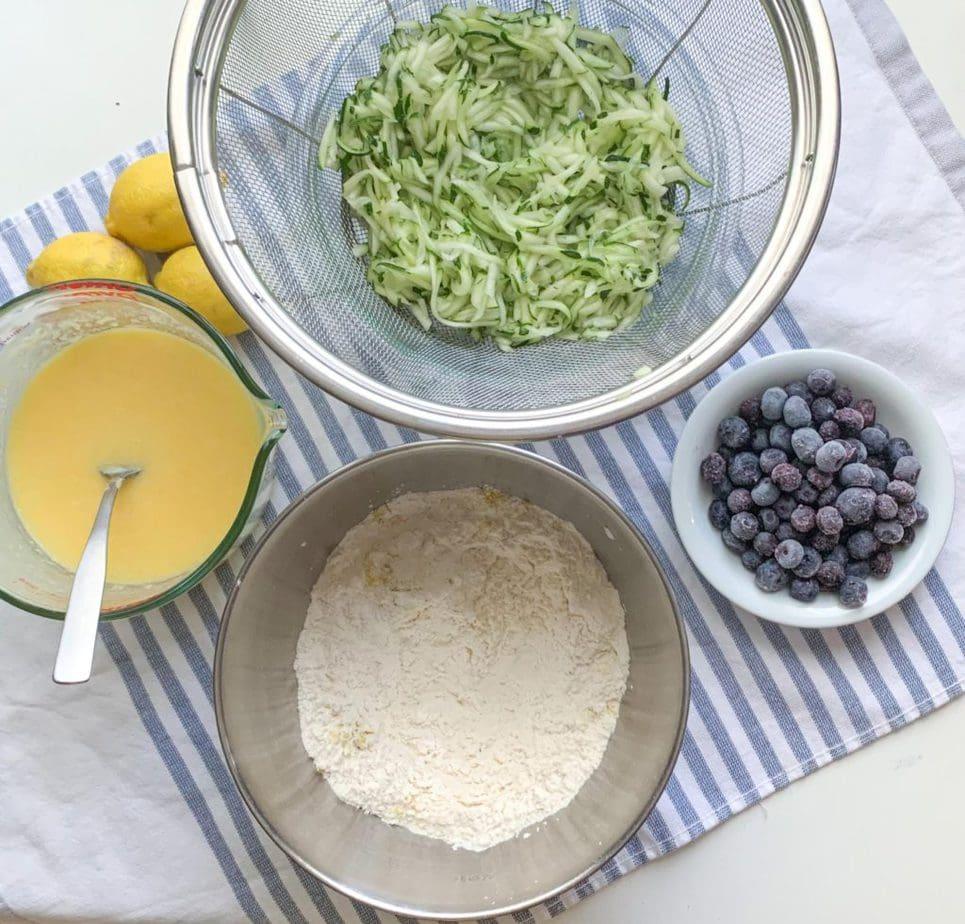 Ingredients to make Blueberry Zucchini Bread with Lemon Glaze