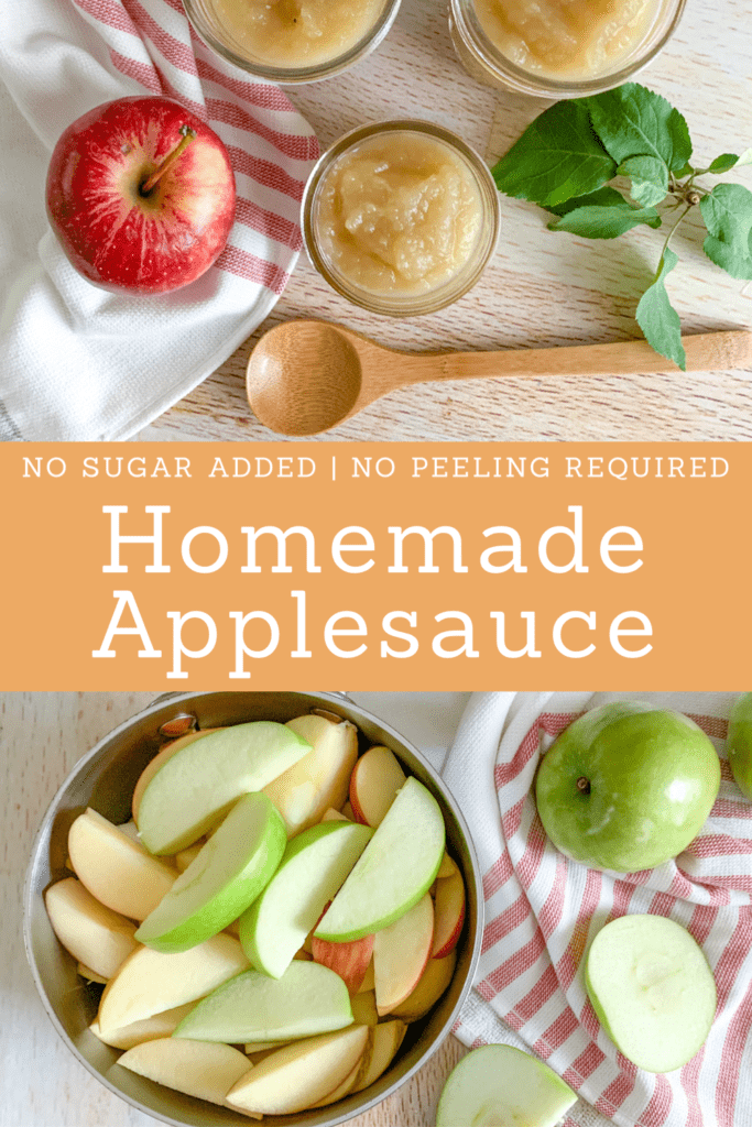 Homemade applesauce with no added sugar.