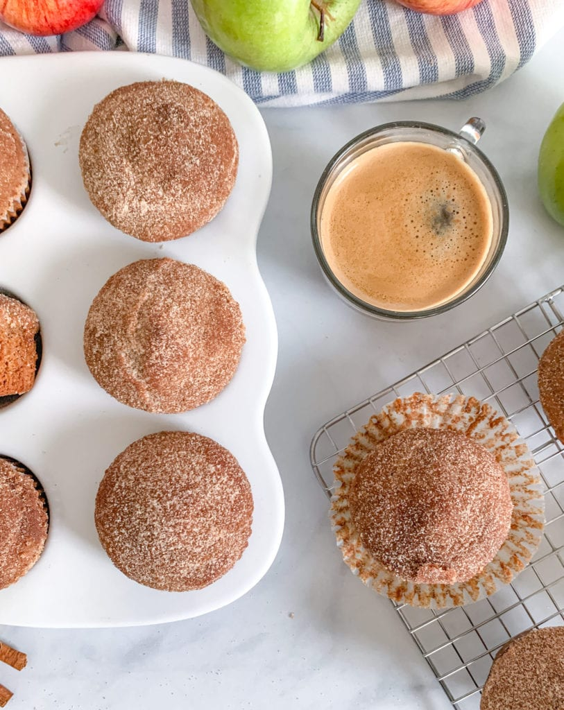 Start your morning with cinnamon sugar applesauce donut muffins