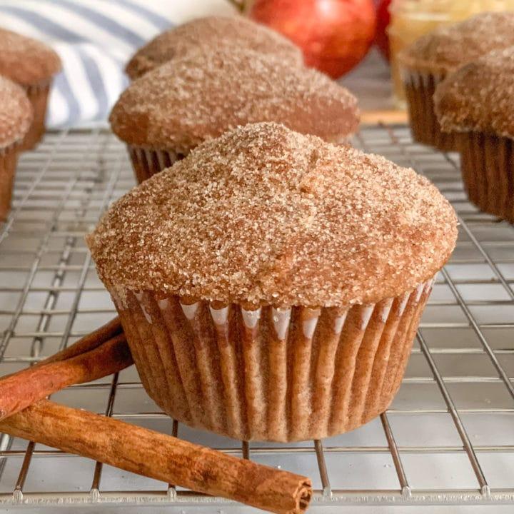 Cinnamon Sugar Topped Applesauce Donut Muffins