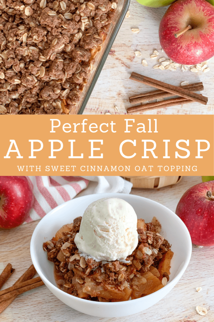 Pin Warm Fall Apple Crisp with Oats and Cinnamon for later.