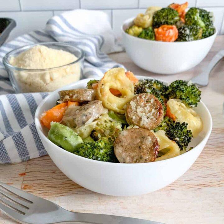 Sheet Pan Broccoli Tortellini Chicken Sausage and Parmesan Cheese