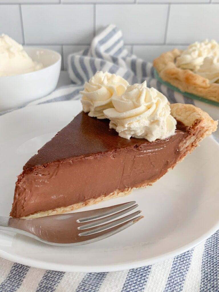 A Sice Of Silky Chocolate Cream Pie