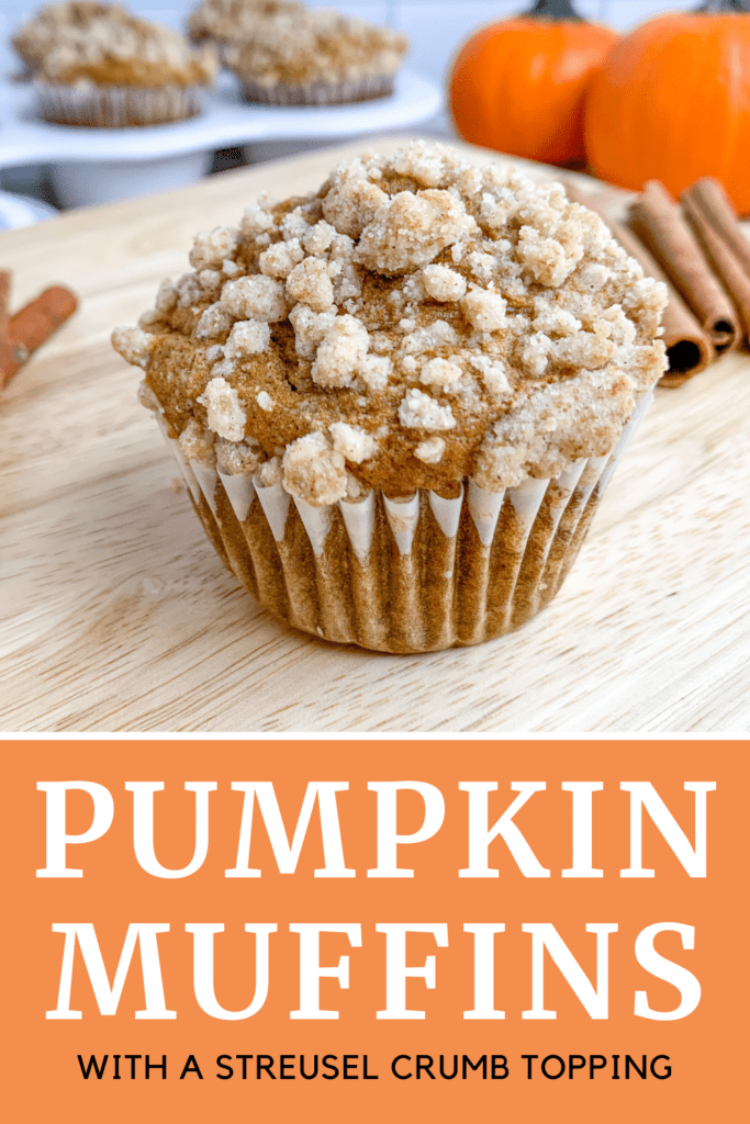 Delicious, moist, homemade pumpkin muffins topped with a sweet streusel crumb topping! This easy recipe is full of pumpkin and seasoned with warm cinnamon, nutmeg, clove, and ginger! This is the perfect sweet treat for fall!
