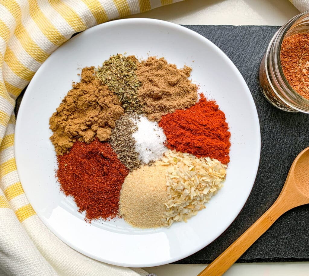The spices you'll need for your Mexican Spice Blend: Cumin, Chili Powder, Paprika, Garlic Powder, Coriander, Oregano, Onion, Salt and Pepper