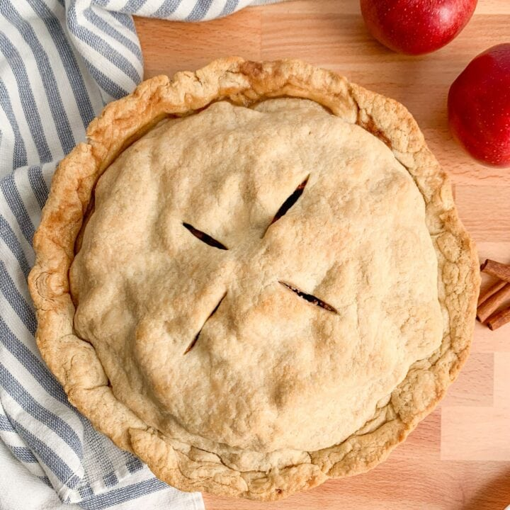Homemade, from scratch apple pie recipe, with homemade apple pie filling and a buttery flaky crust