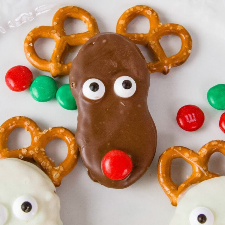 Peanut Butter Red Nosed Reindeer Cookies
