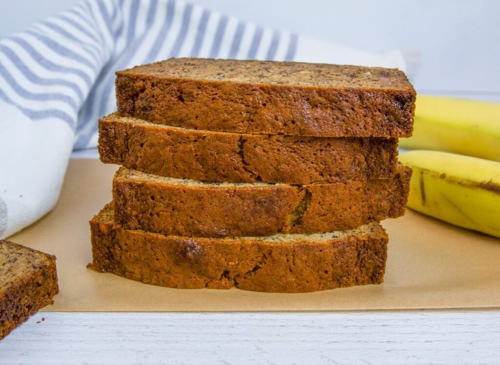 Dairy Free Banana Bread with coconut oil and whole wheat