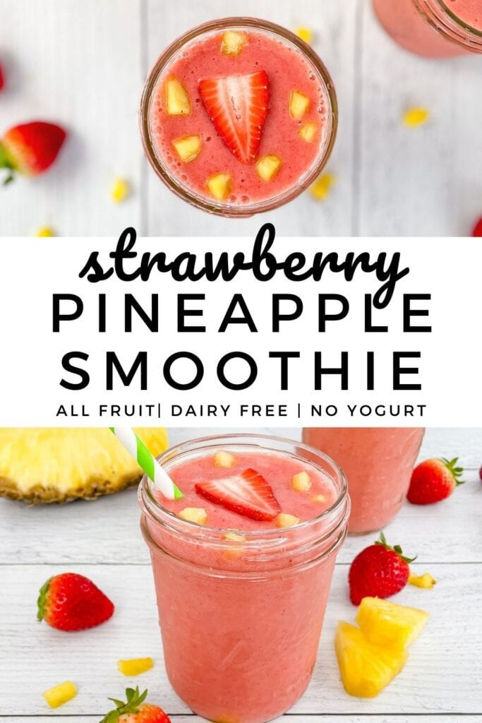 Strawberry Pineapple Smoothie made without yogurt. All fruit smoothie is nutritious, healthy and full of Vitamin C