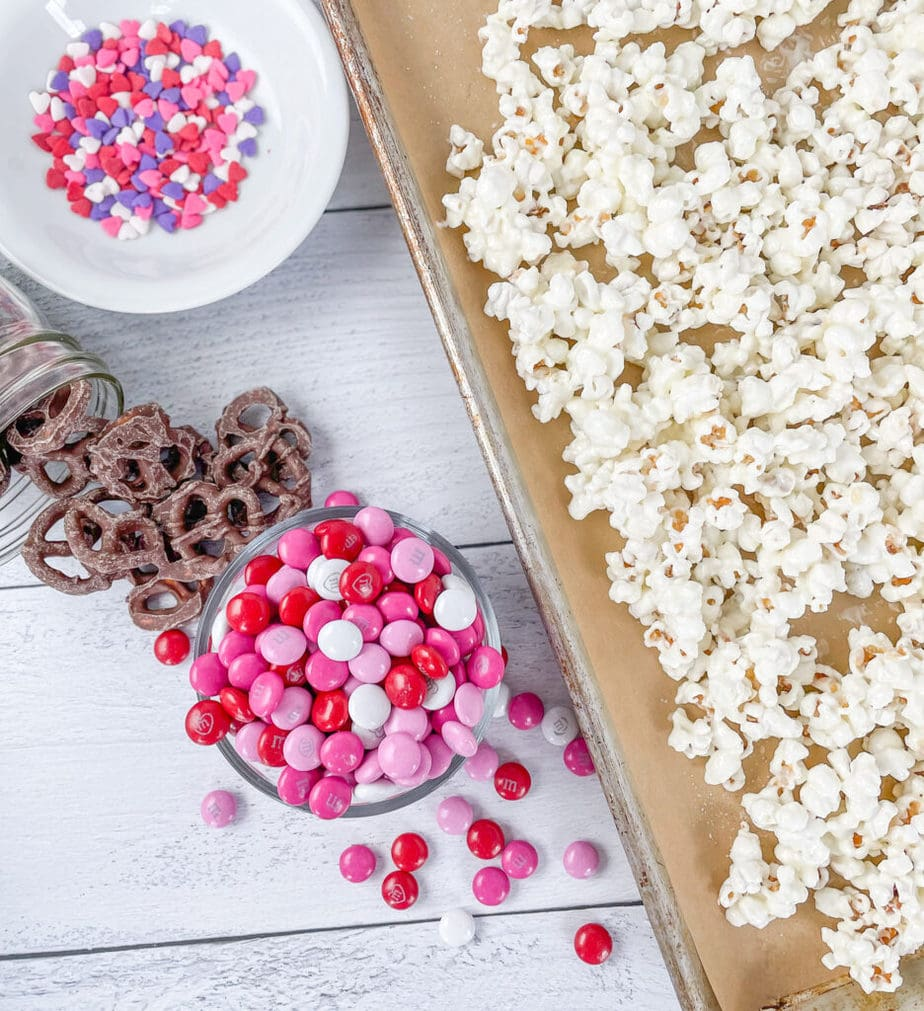 The Ingredients you will need to make a Valentines Snack Mix with Popcorn