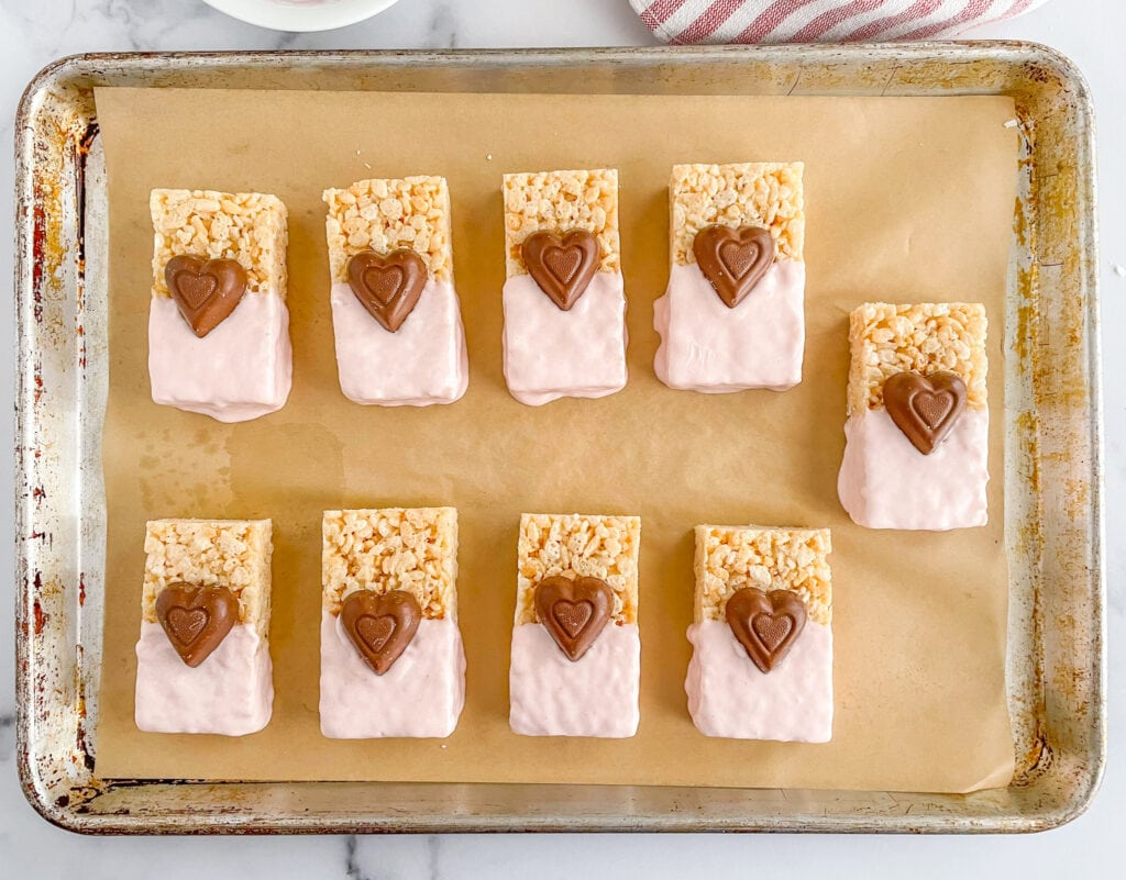 Add chocolate hearts to your chocolate dipped rice krispie treats