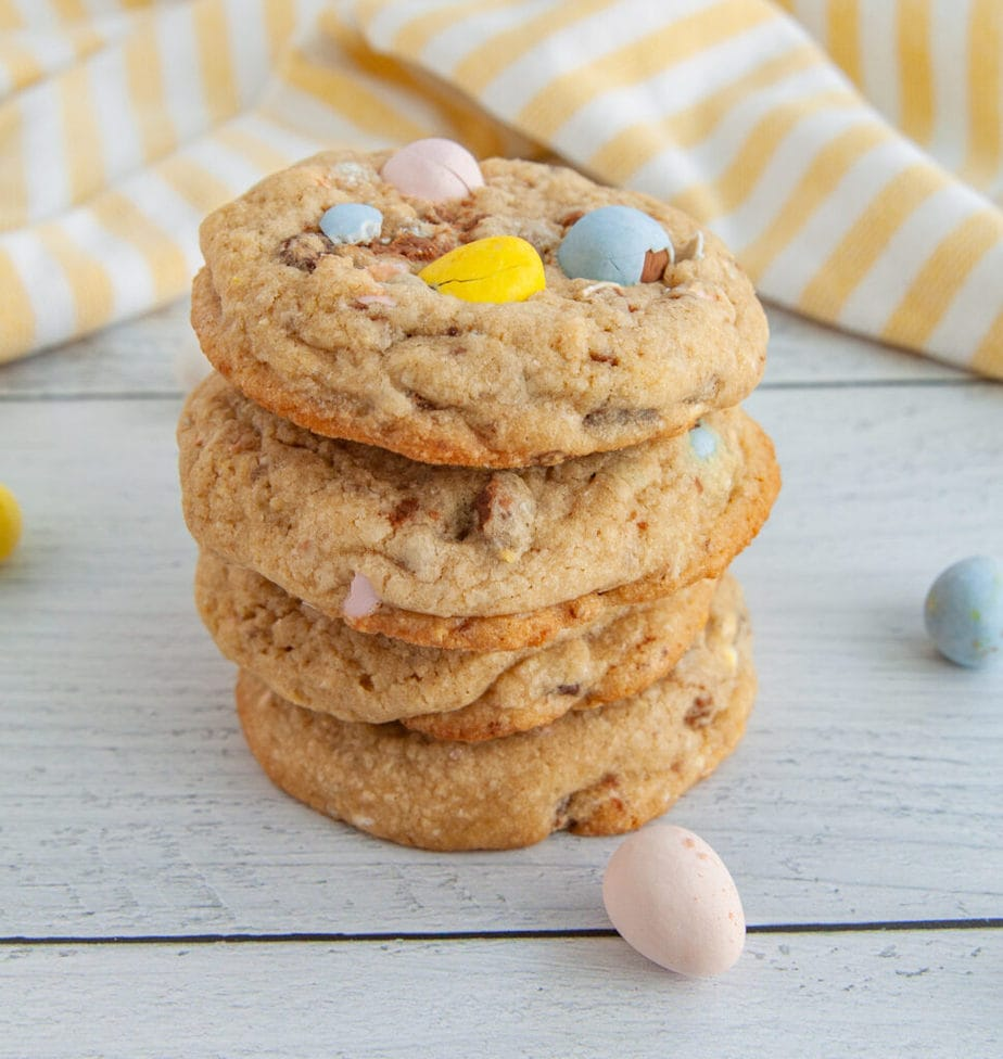 Thick and chunky mini egg cookies made with Cadbury mini eggs and chocolate chips. The perfect cookies for Easter!