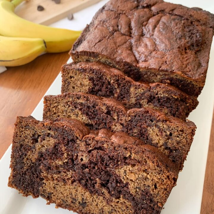 The Best Chocolate Marbled Banana Bread