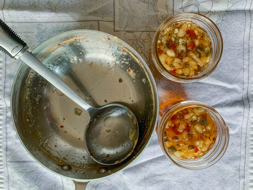 Spicy Pineapple Pepper Jam can be canned, frozen, or stored in the fridge