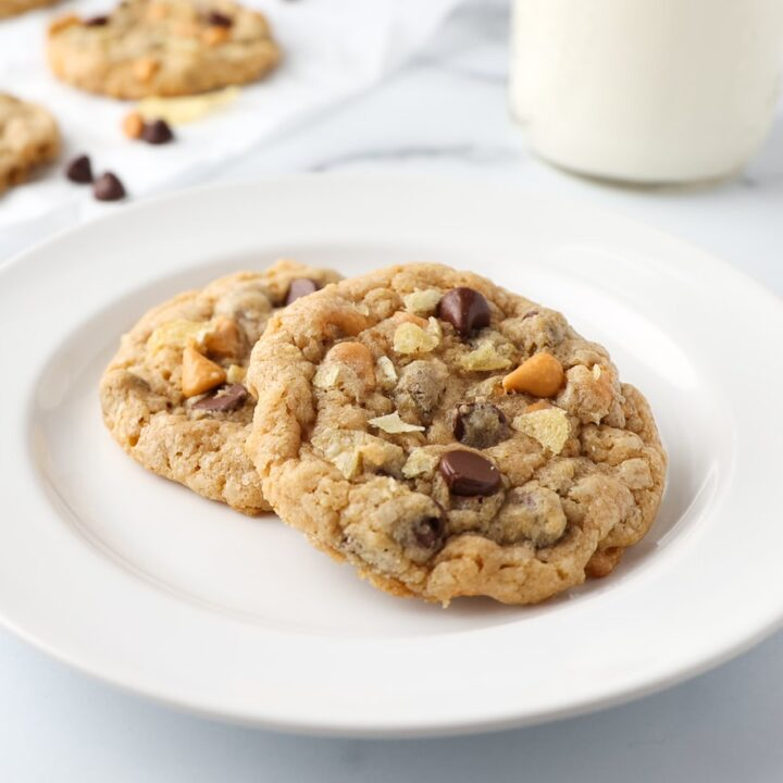 Plated Cookies With Milk