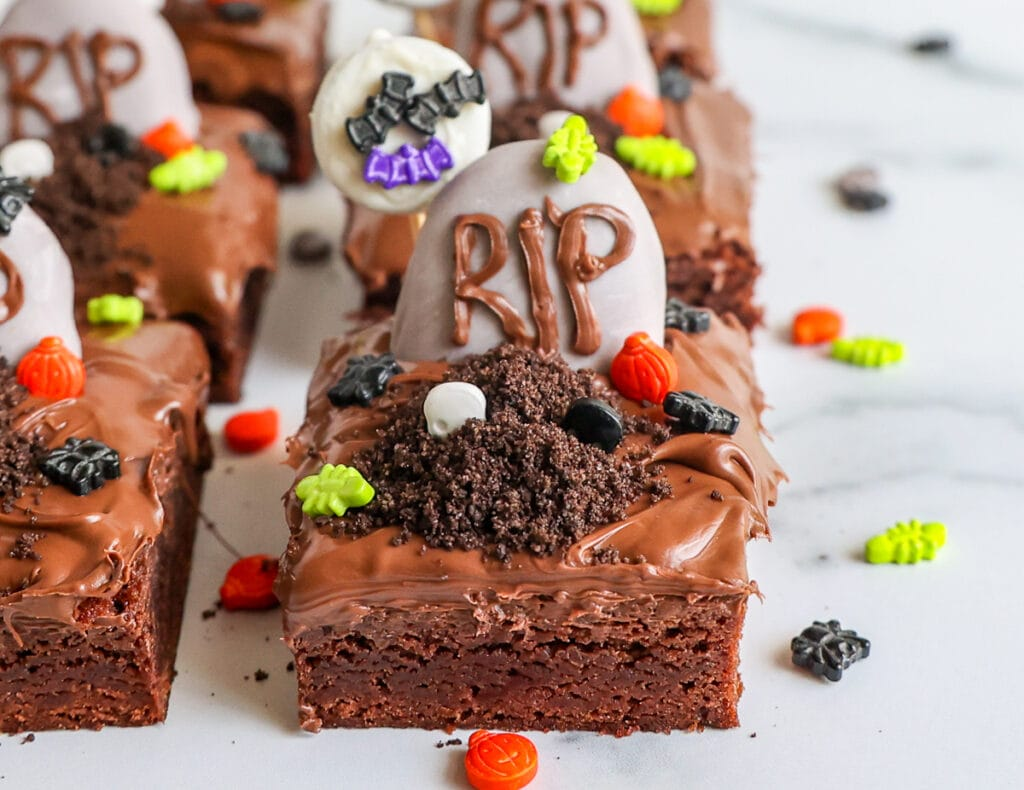 Assembling the Brownies with the graveyard decorations