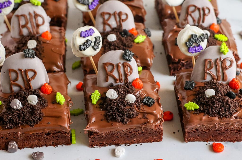Every component of these graveyard brownies can be made ahead!